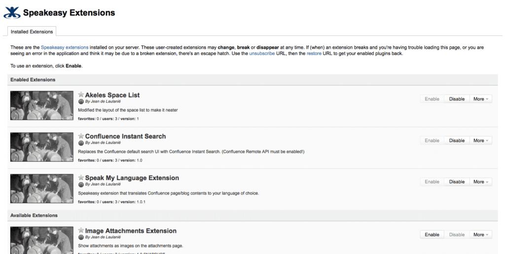 Speakeasy - écran de gestion des extensions